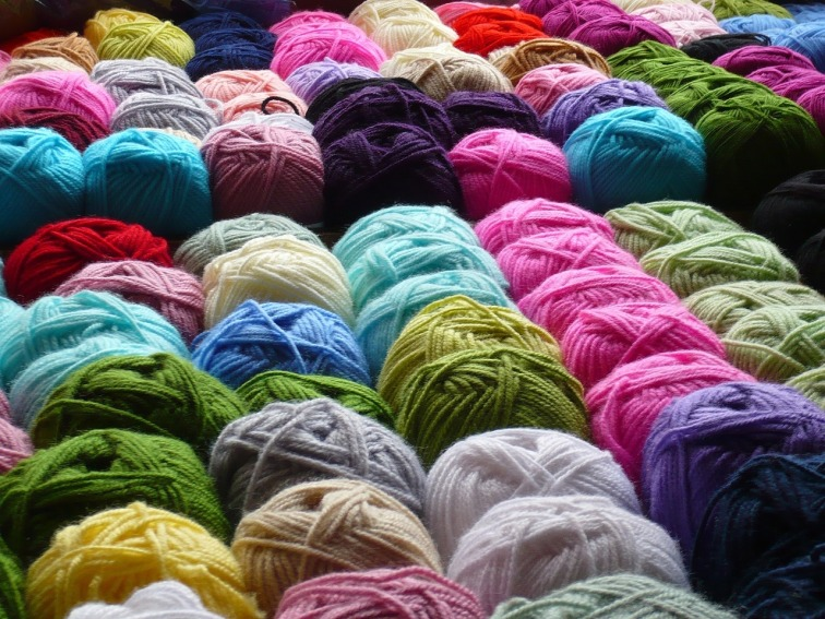 balls of colourful wool yarn